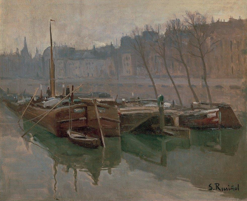 Santiago Rusiñol - Boats on the Seine