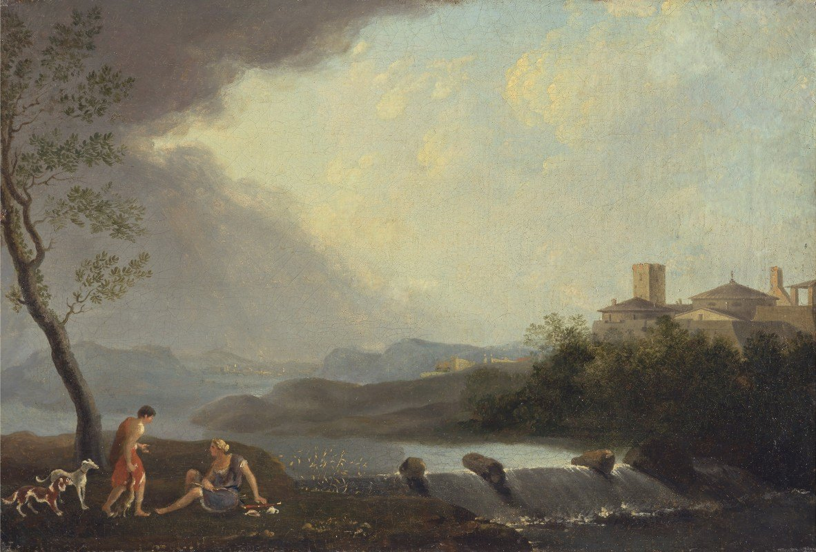 Thomas Jones - An Imaginary Italianate Landscape with Classical Figures and a Waterfall