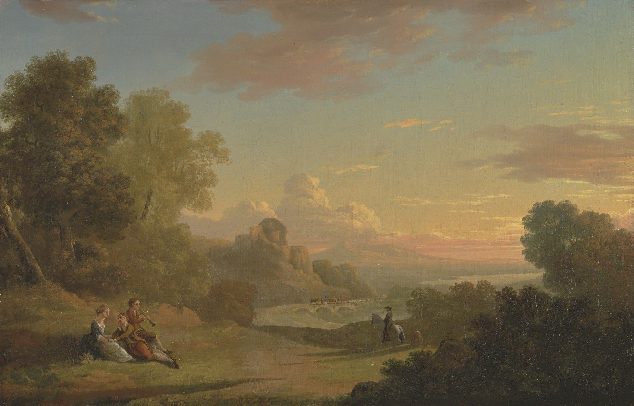 Thomas Jones - An Imaginary Landscape with a Traveller and Figures Overlooking the Bay of Baiae