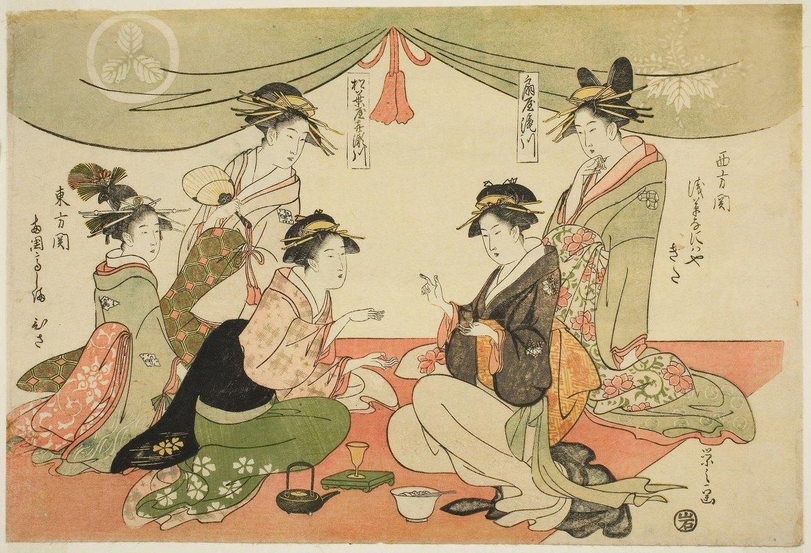 Chōbunsai Eishi - Naniwaya Okita and Takashima Ohisa playing a game of ken