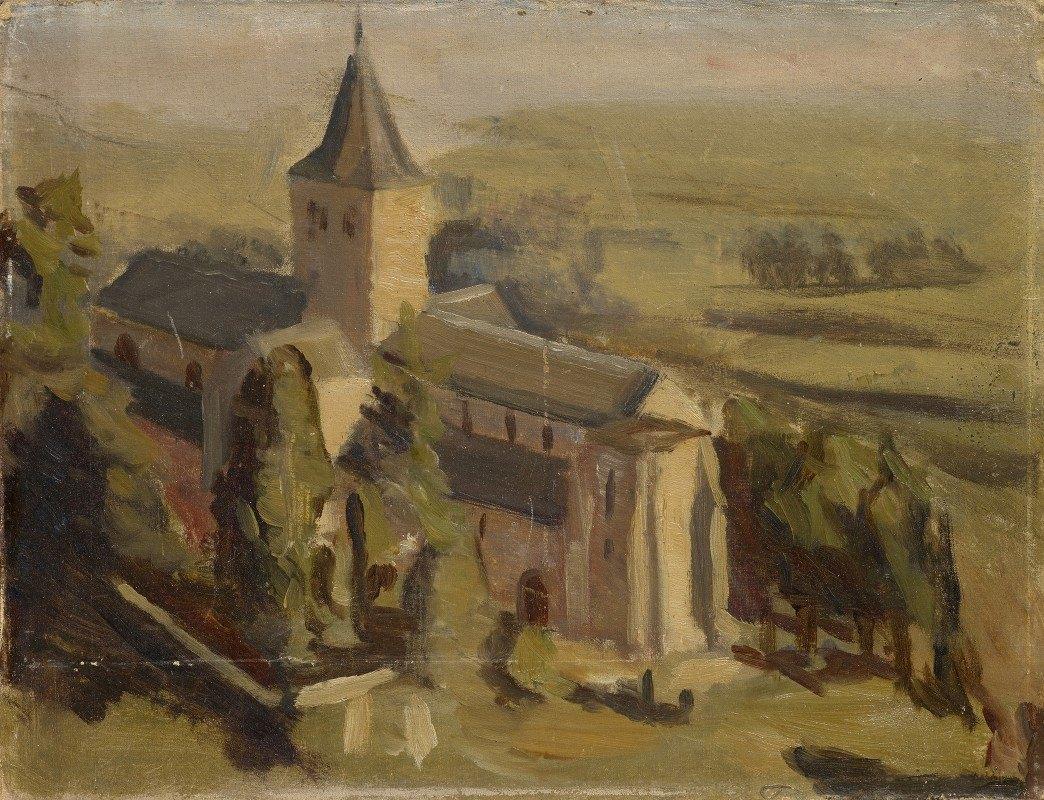 William De Goumois - Landscape with Medieval Church