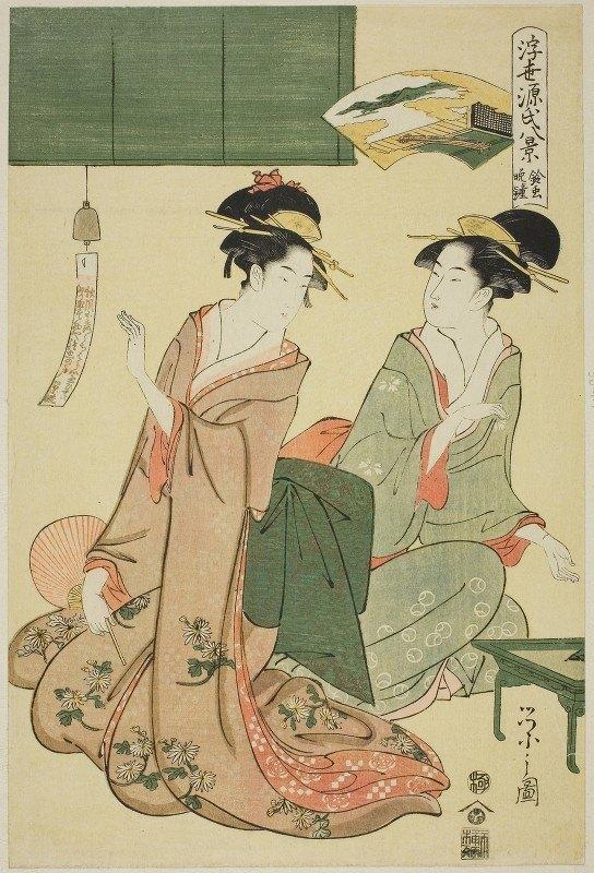 Chōbunsai Eishi - Ukiyo Genji hakkei ; Suzumushi no bansho