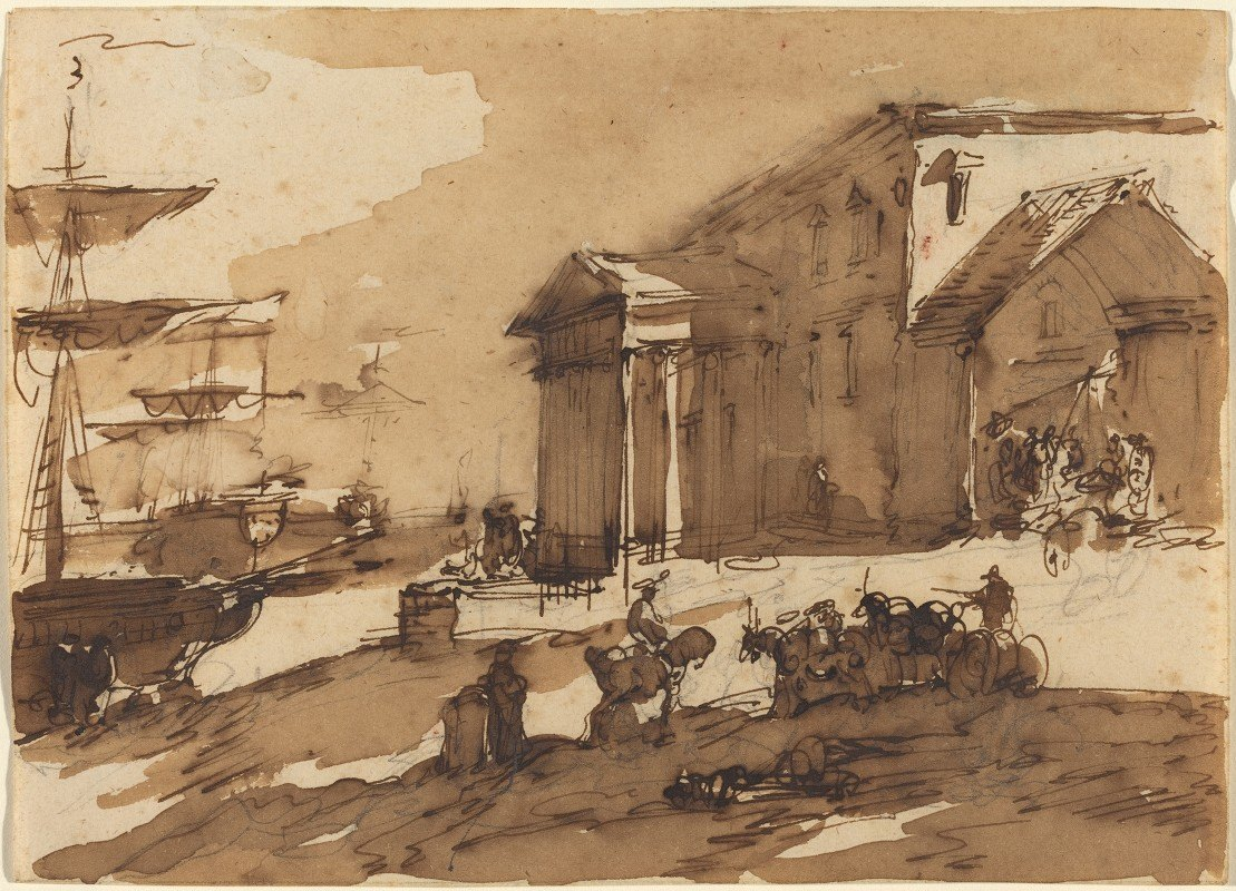 Giuseppe Bernardino Bison - Capriccio of a Port Scene