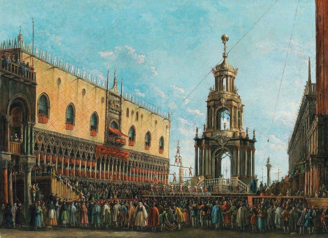Giuseppe Bernardino Bison - The 'Giovedi Grasso' Festival before the Ducal Palace in Venice