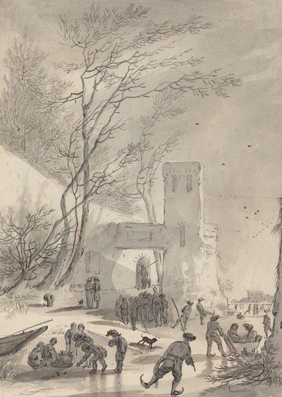 Hendrik van der Straaten - Skaters Outside a City Wall