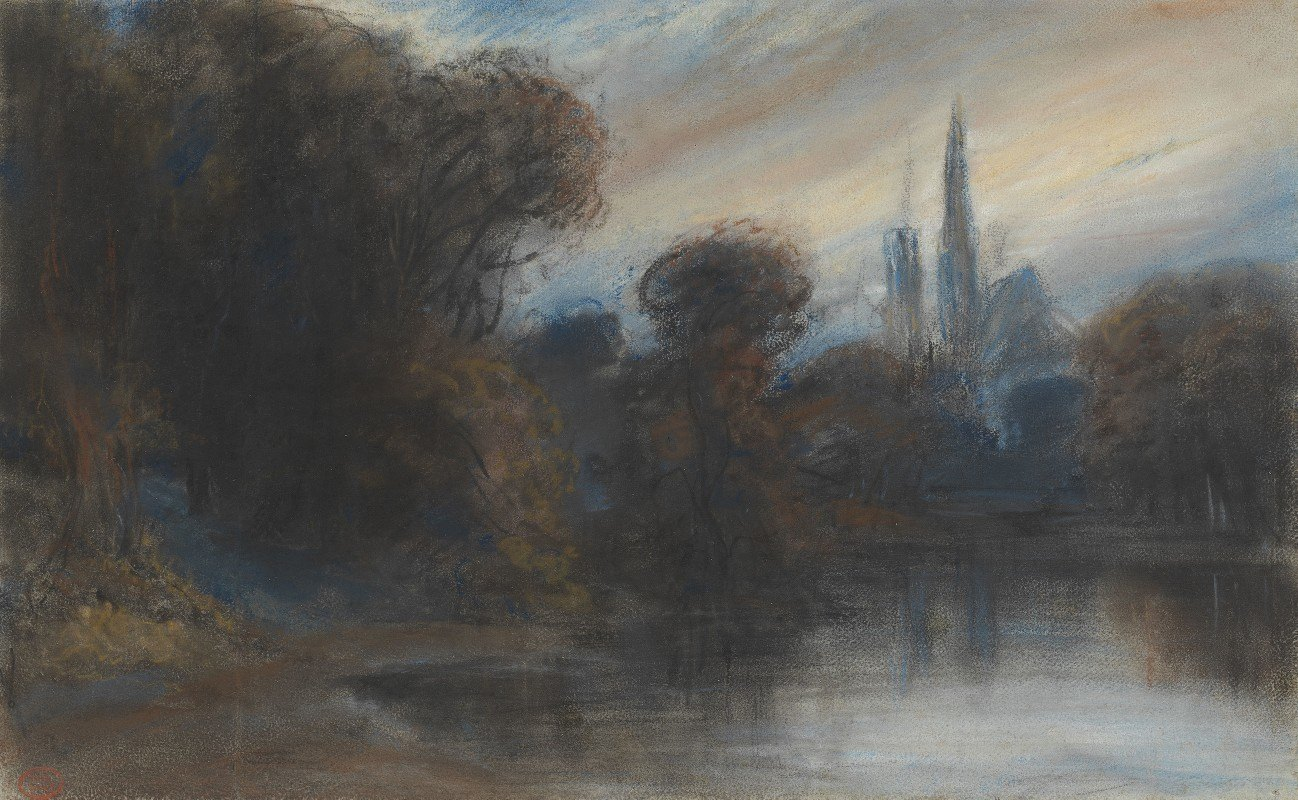 Paul Huet - An Abbey by a Wooded Lake at Twilight