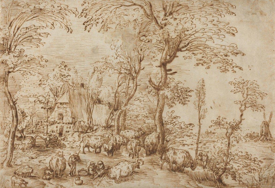 Pieter Bruegel The Elder - Peasants and Cattle near a Farmhouse