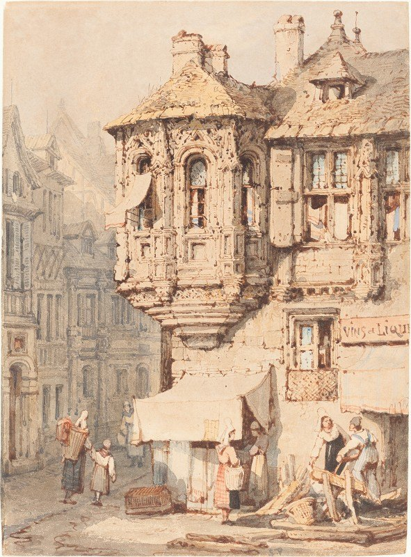 Samuel Prout - French Street Scene with a Medieval Turret