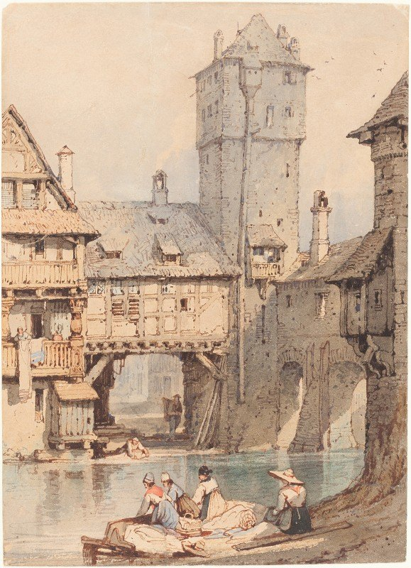 Samuel Prout - Laundresses before the Wasserturm, Nuremberg