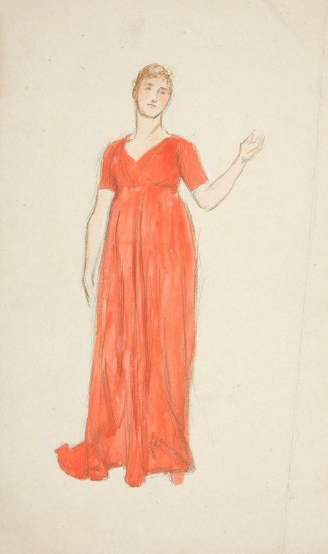 Edwin Austin Abbey - Sketch of a woman – costume study for a play