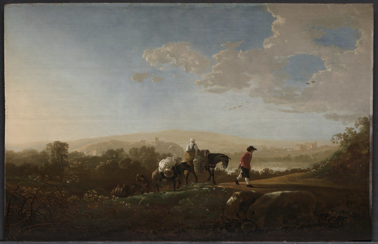Aelbert Cuyp - Travelers in Hilly Countryside