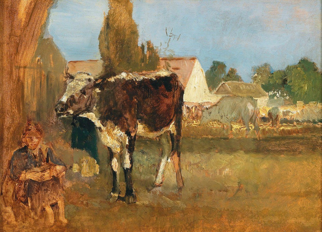 Emil Jakob Schindler - Animal Study – Landscape with Farmhouse, Cows and Farmer's Wife