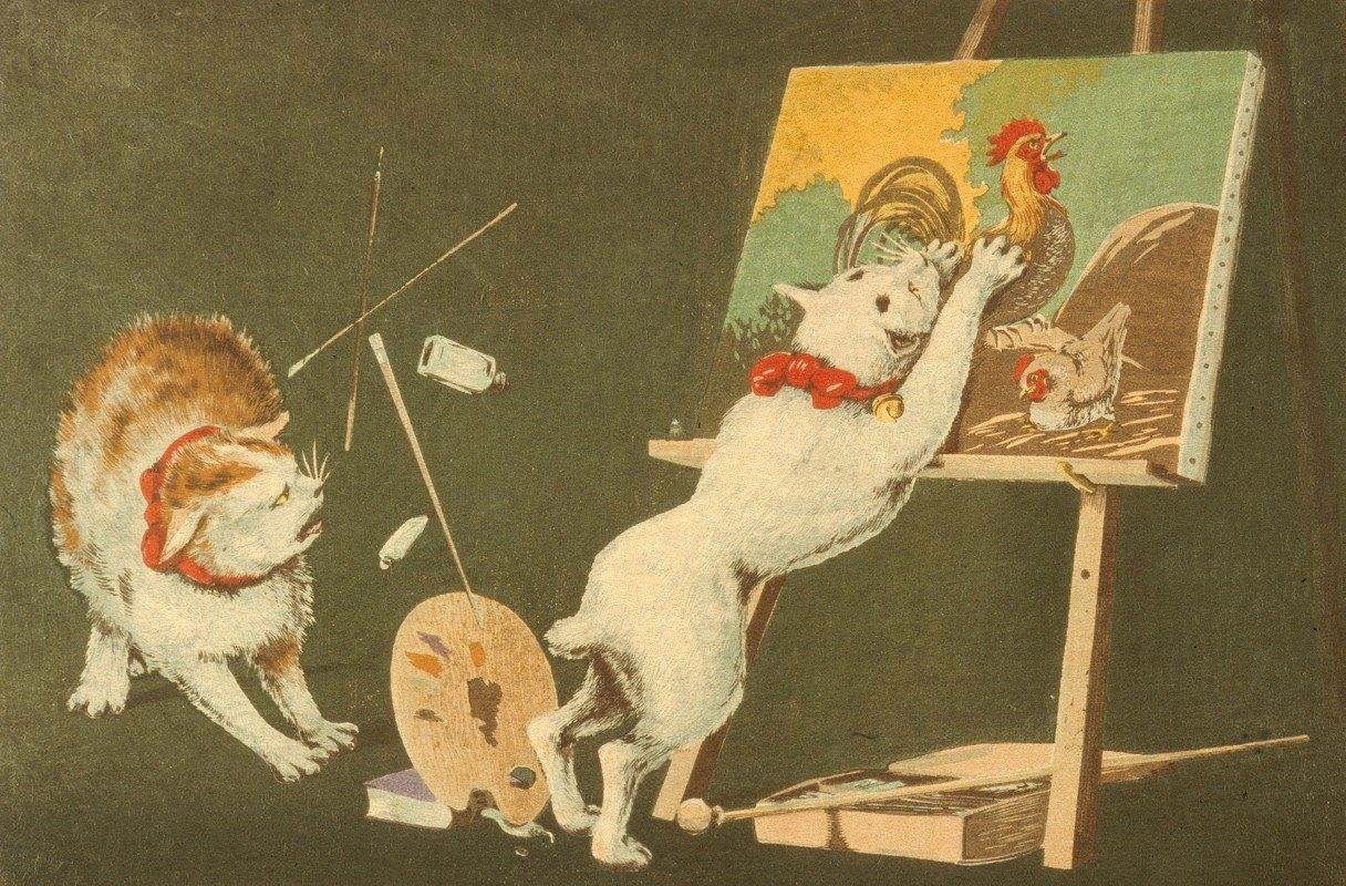 Kobayashi Kiyochika - Cats and Canvas