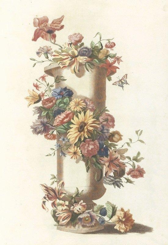 Anonymous - Cilindrische vaas met bloemenkrans