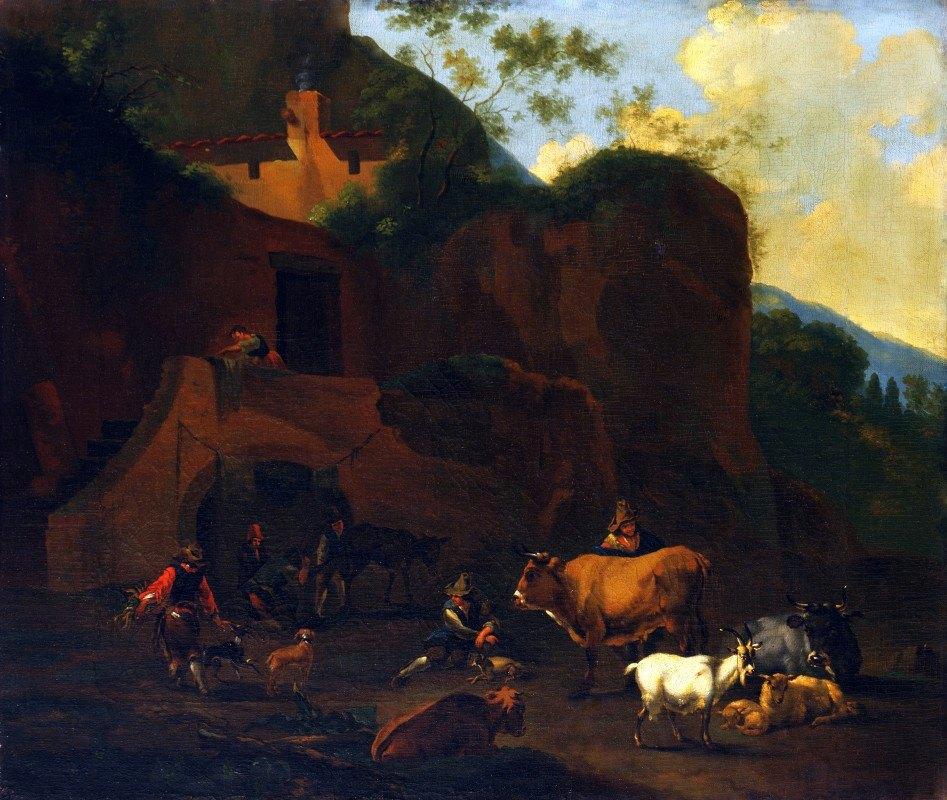 Nicolaes Pietersz. Berchem - Peasants and Cattle