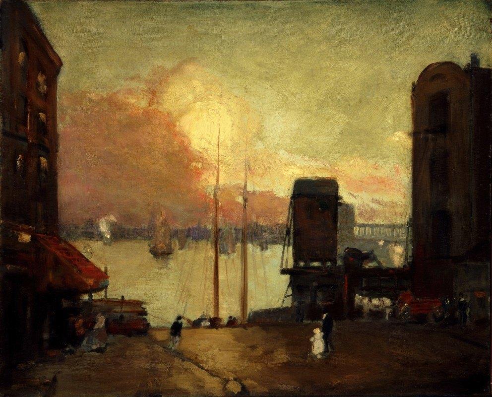 Robert Henri - Cumulus Clouds, East River
