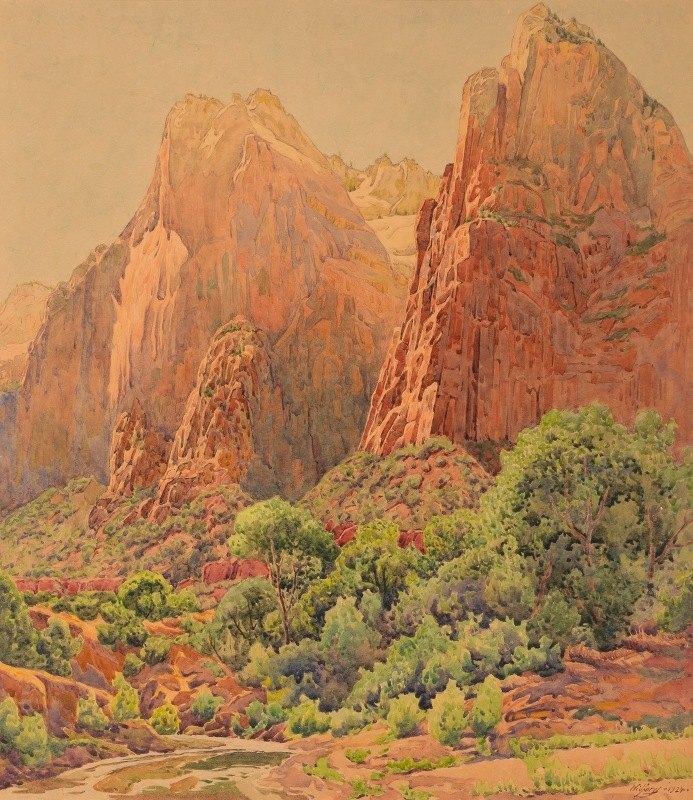 Gunnar Widforss - The Patriarchs, Zion National Park