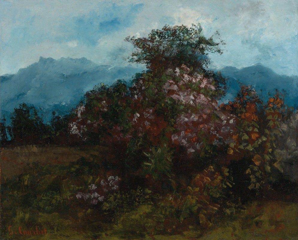 Gustave Courbet - Paysage Avec Massif Fleuri