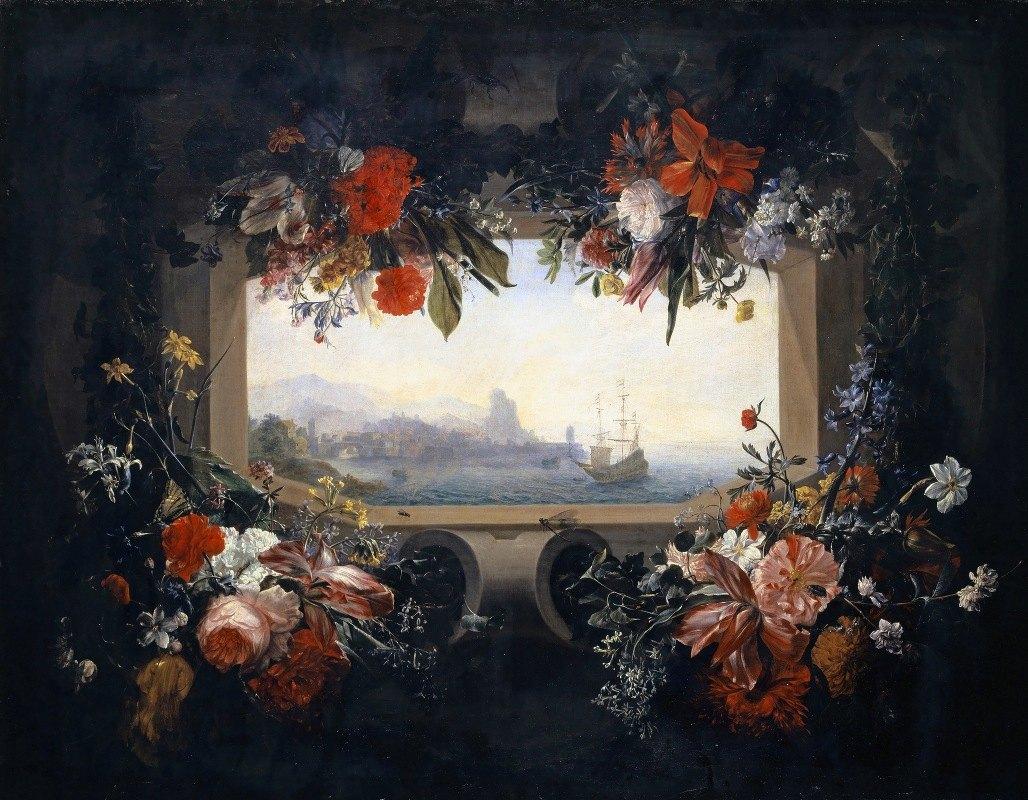 Johann Rudolf Bys - Flower Still Life; Cartouche With Garland, Inside A View Of A Seaport