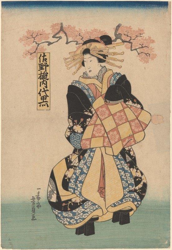 Utagawa Kuniyoshi - Female Figure, Hair Dressed with Yellow Pins Platform Shoes