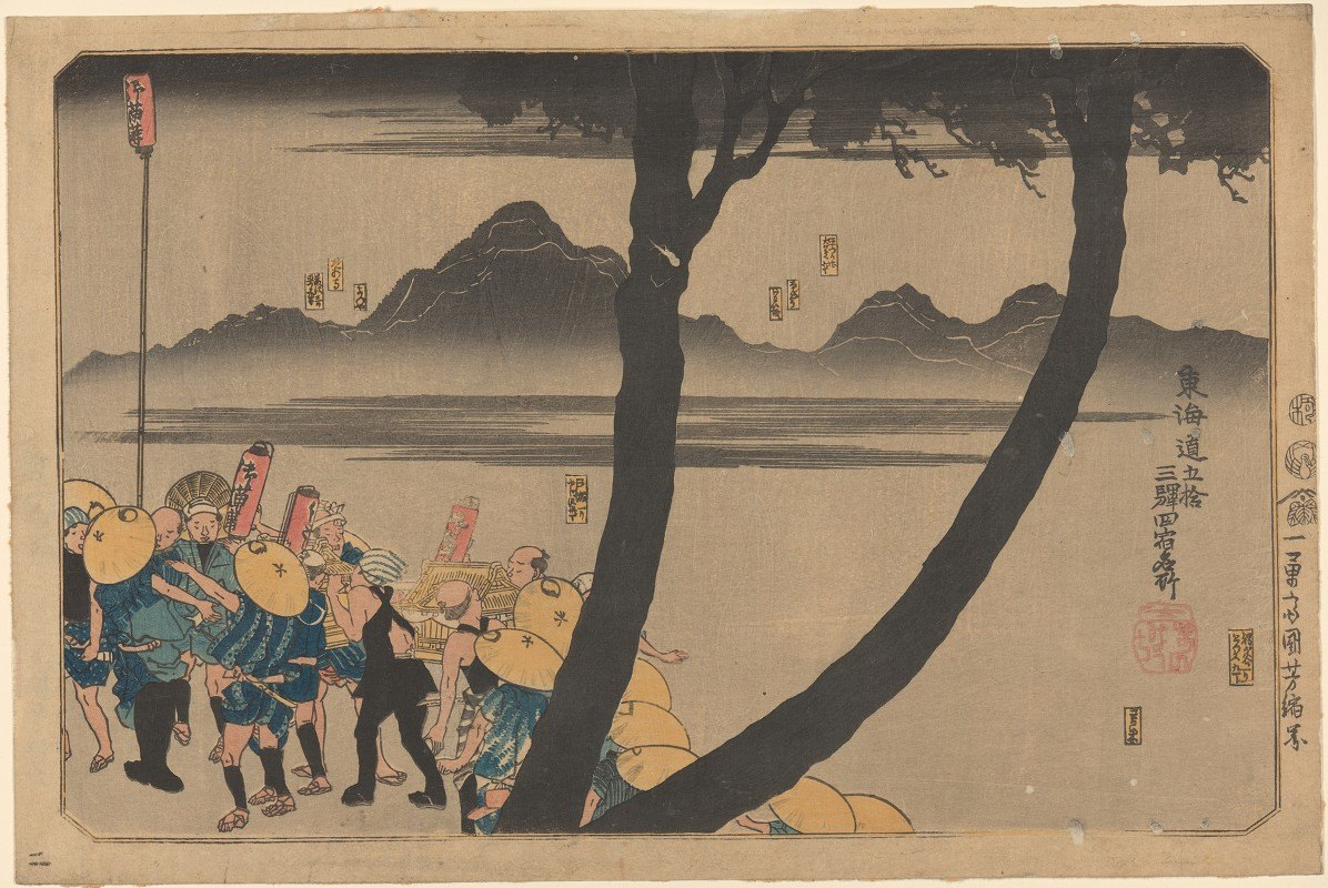 Utagawa Kuniyoshi - Night Procession by River (forked tree trunk in foreground)