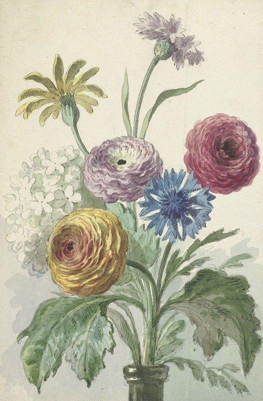 Willem van Leen - Boeket bloemen in de hals van een groene vaas