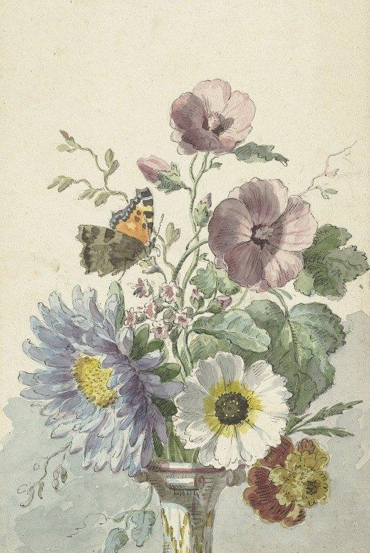 Willem van Leen - Boeket bloemen met een vlinder