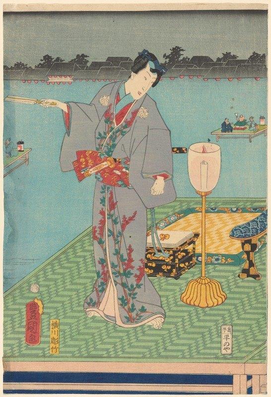 Toyokuni Utagawa - Actor in grey costume with red trim
