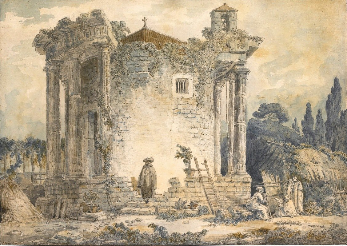 Hubert Robert - The Temple Of The Sibyl At Tivoli, A Man In A Cloak And Hat Standing On The Steps, A Group Of Monks To The Right