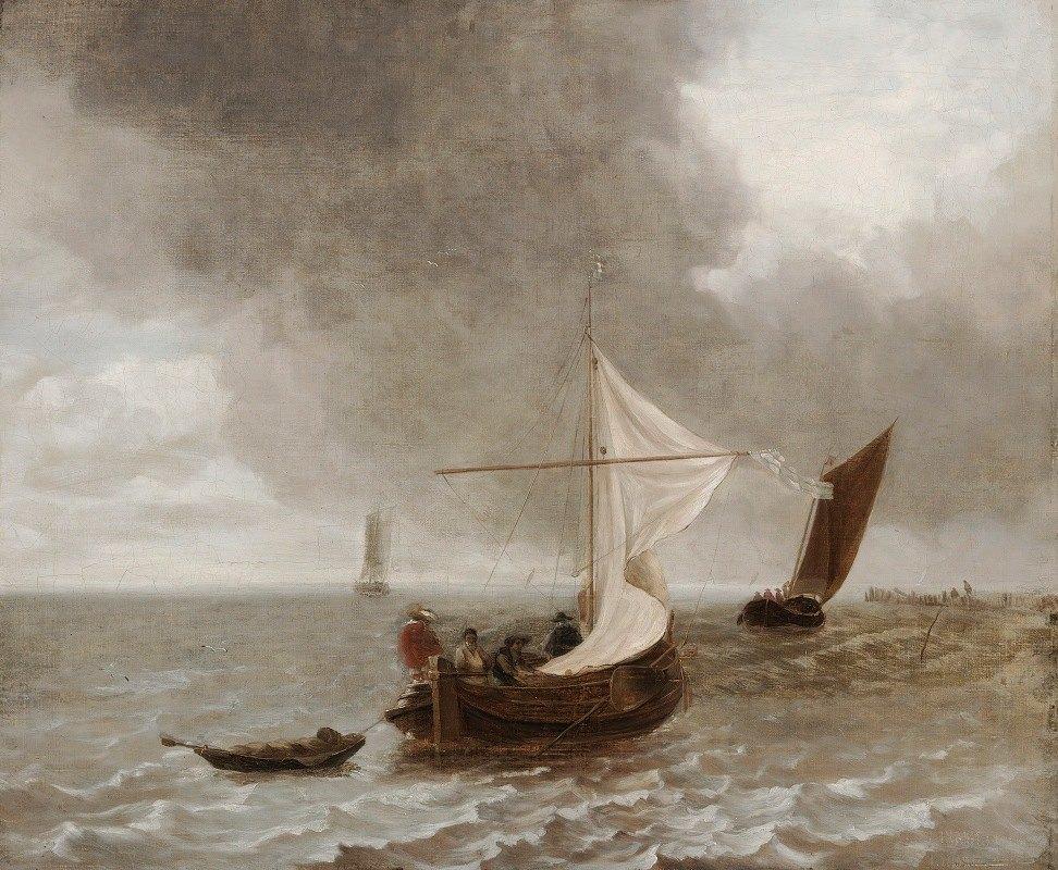 school of Jan van de Capelle - Sailboats In A Breeze