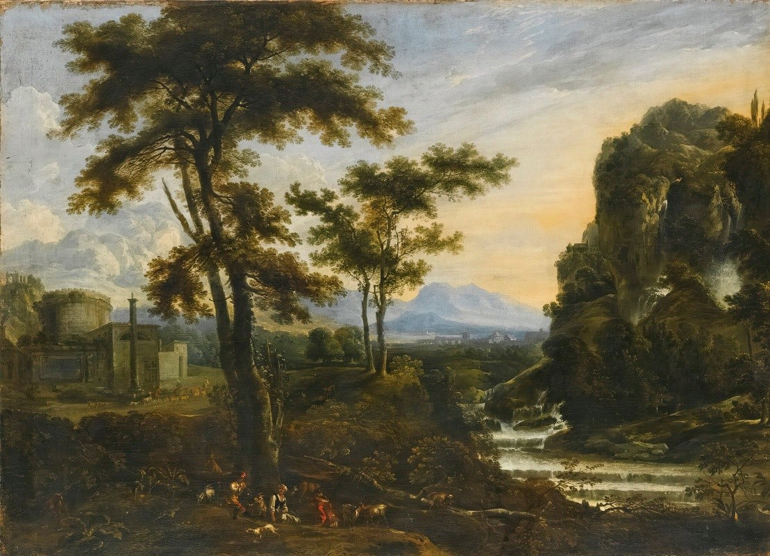 Tuscan School - An Extensive River Landscape With Herders Resting In The Foreground, A Fortification To The Left