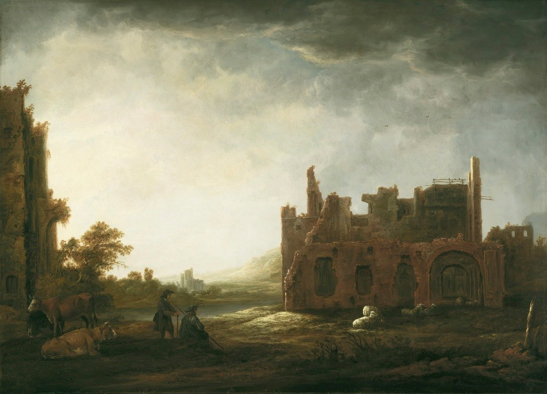 Aelbert Cuyp - Landscape with the Ruins of Rijnsburg Abbey