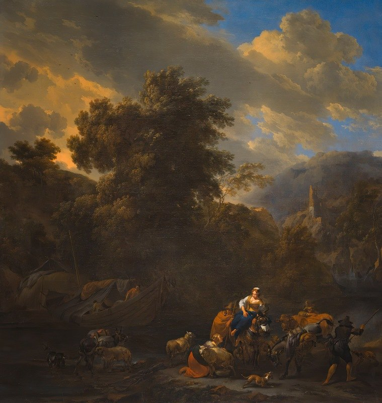 Nicolaes Pietersz. Berchem - Italianate Landscape with Figures and Pack Animals on the Banks of a River