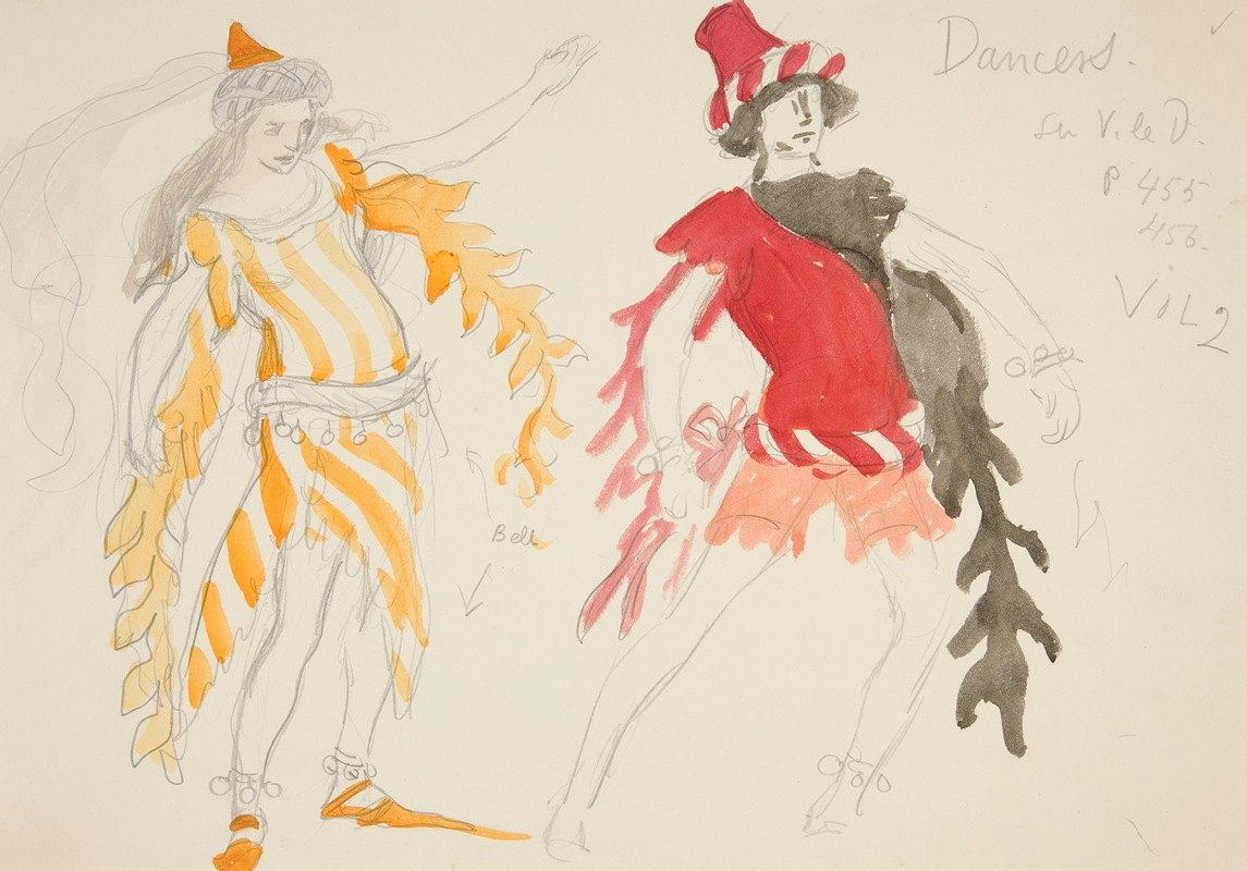 Edwin Austin Abbey - Dancers, costume sketch for Henry Irving's Planned Production of King Richard II