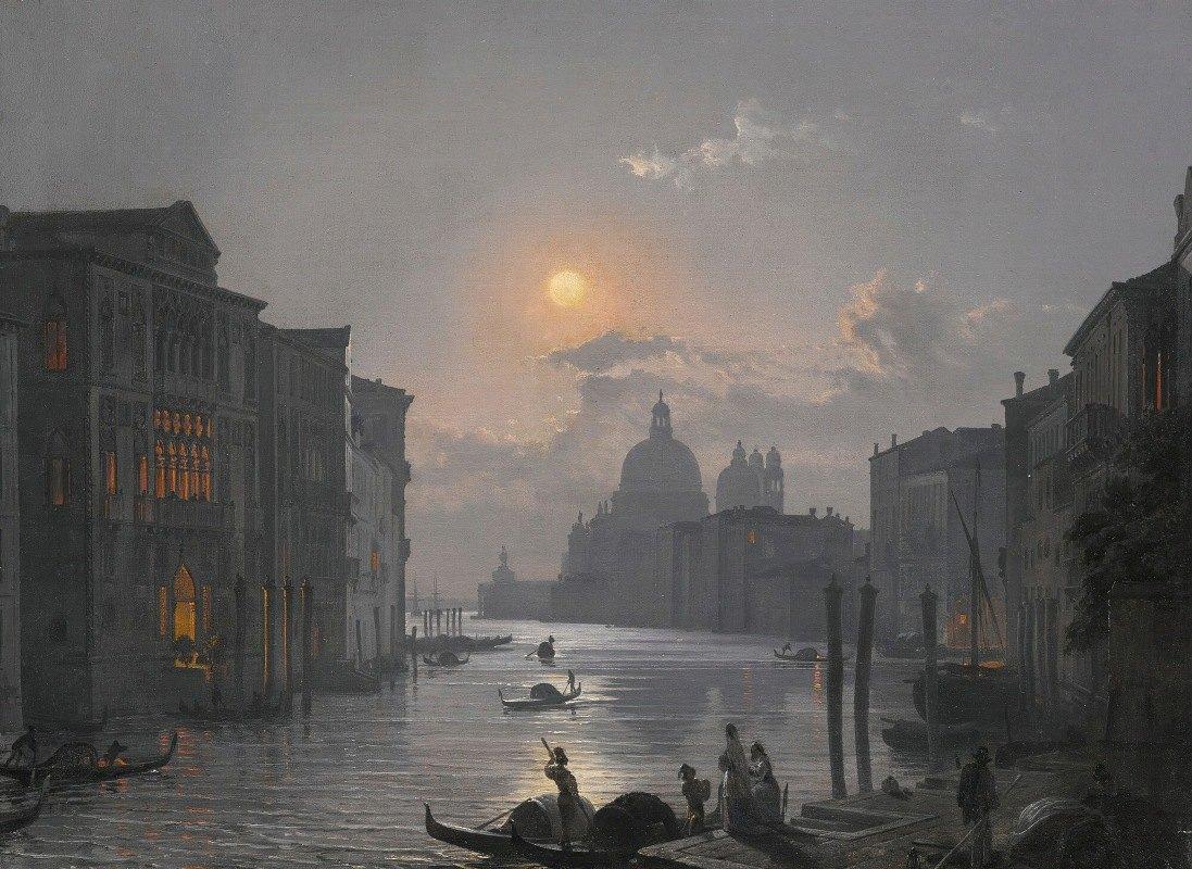 Friedrich von Nerly - Venice, AView Of The Grand Canal With The Palazzo Cavalli-Franchetti And Santa Maria Della Salute