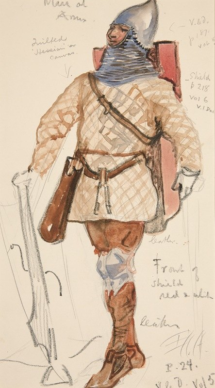 Edwin Austin Abbey - Man of Arms, costume sketch for Henry Irving's Planned Production of King Richard II
