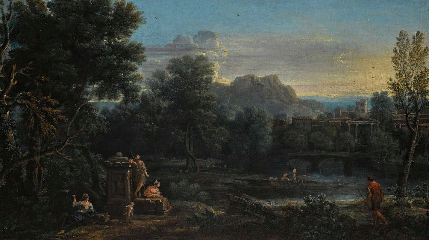 John Wootton - A wooded classical landscape with figures resting in the foreground and bathing in the river, a town beyond
