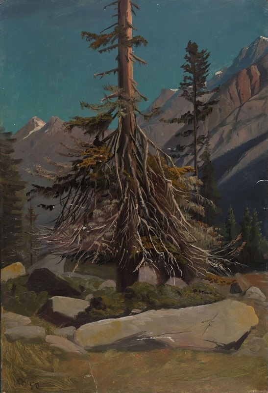 Knud Baade - Study of Trees in the Alps