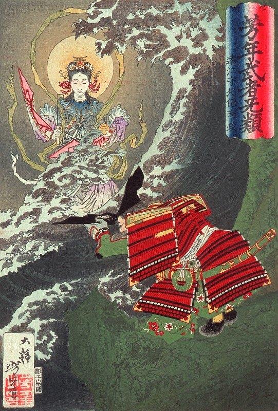 Tsukioka Yoshitoshi - Hōjō Tokimasa of Tōtōmi Praying to Benzaiten