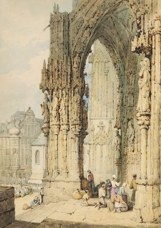 Samuel Prout - The Porch at Ratisbon Cathedral, Bavaria