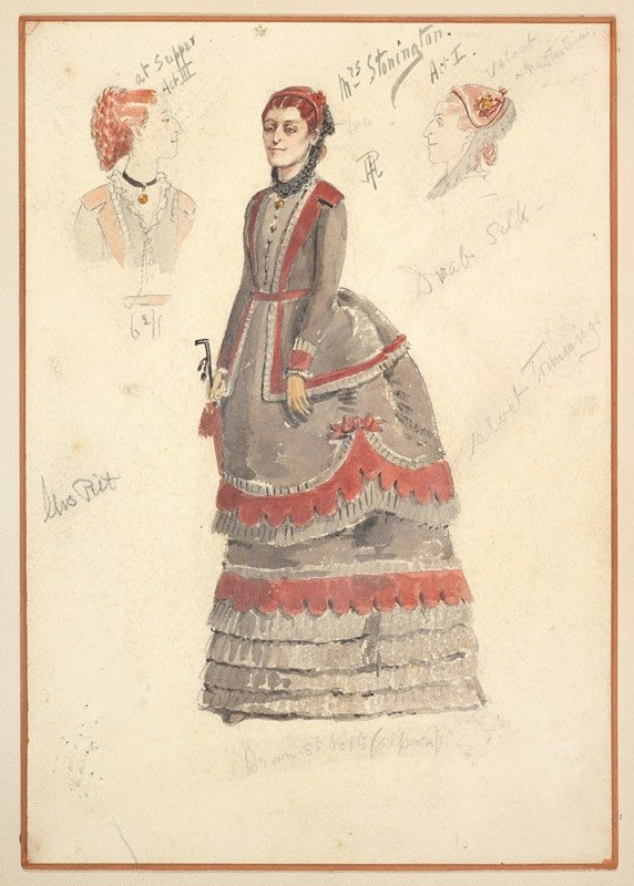 Percy Anderson - Costume Designs for 'Mrs. Stonington' for Act I and Act III