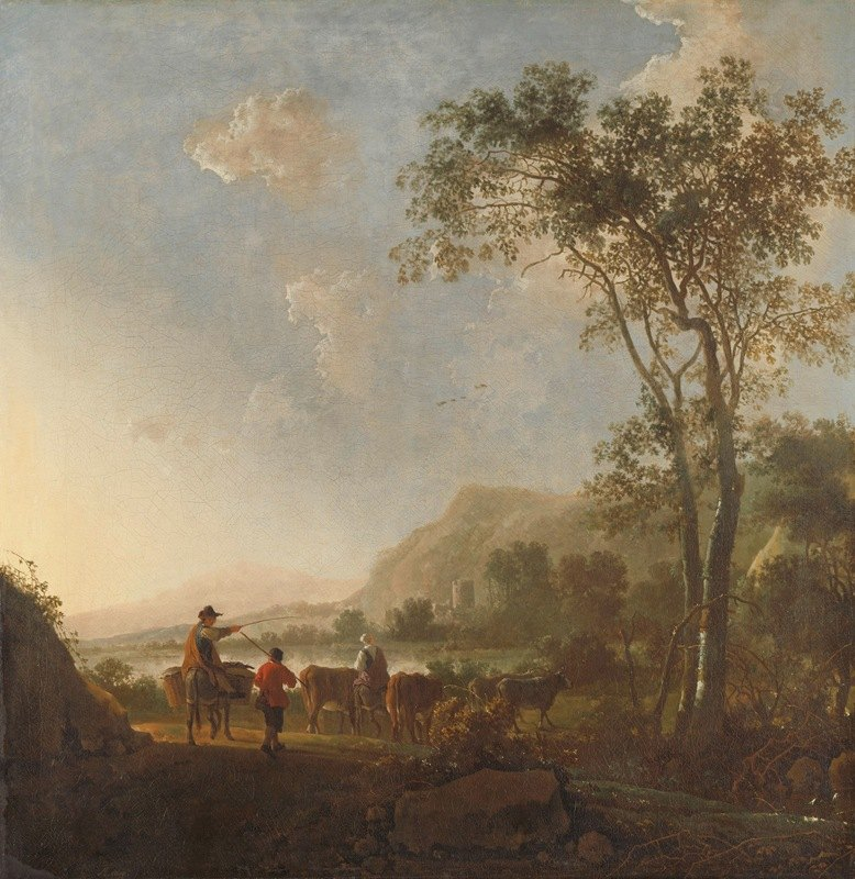 Aelbert Cuyp - Landscape with Herdsmen and Cattle