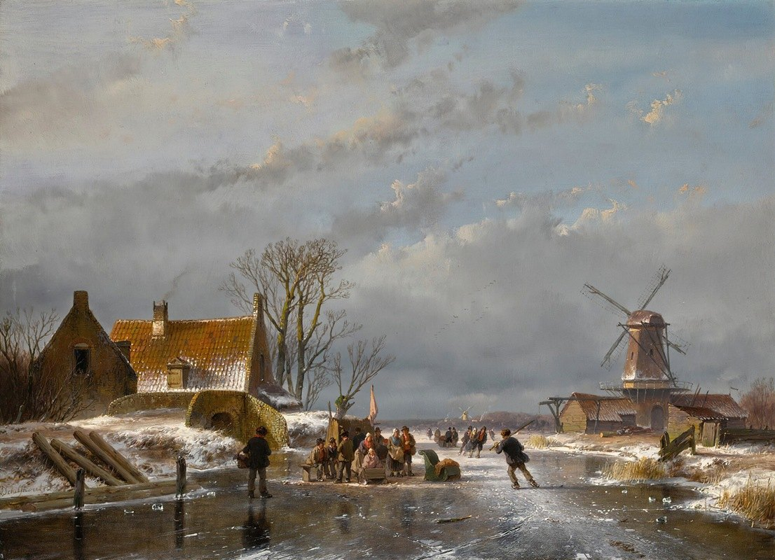 Andreas Schelfhout - Winter landscape with skaters and a koek-en-zopie