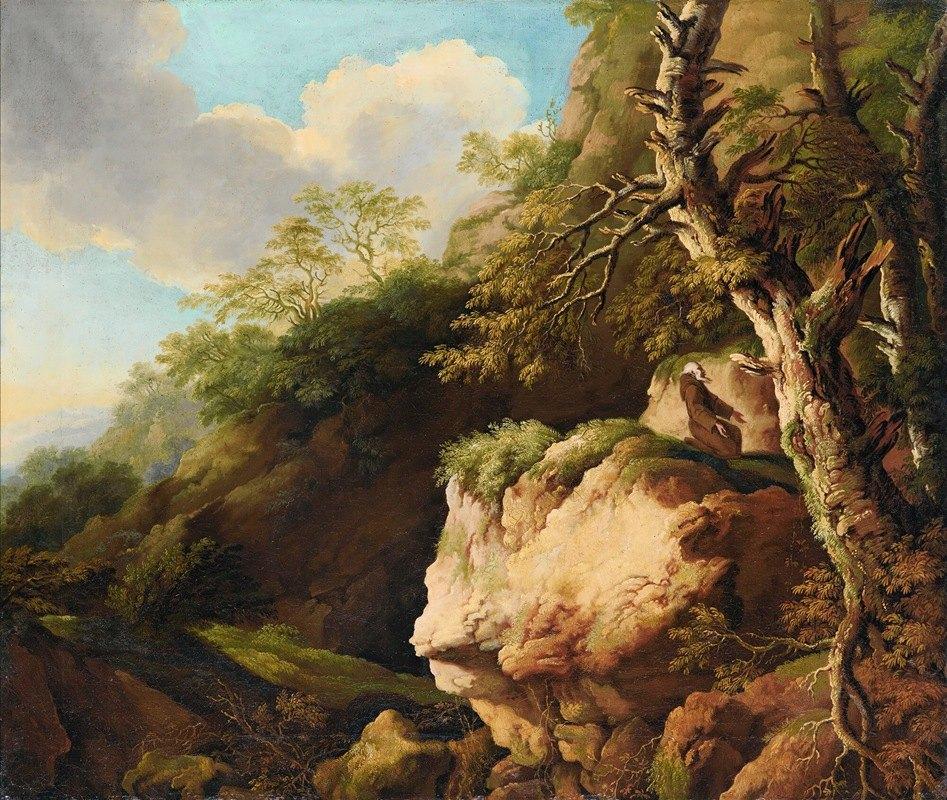 Christian Wilhelm Ernst Dietrich - Landscape with a Franciscan monk