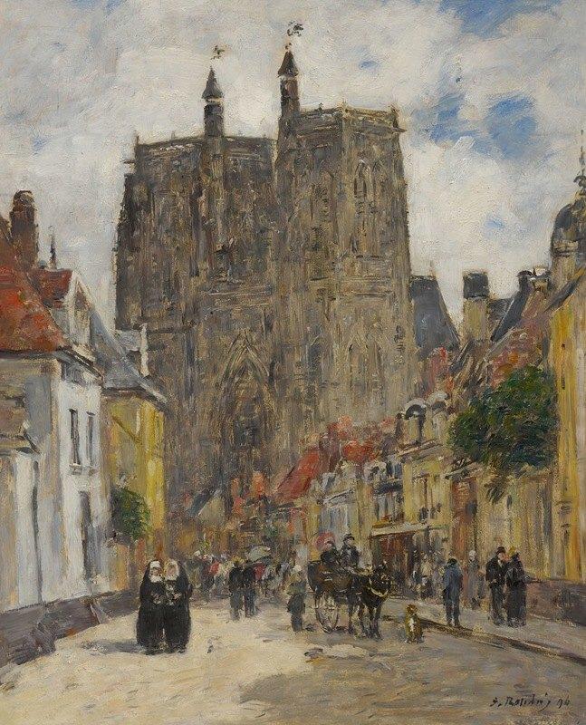 Eugène Boudin - Abbeville, Rue Et Église Saint-Vulfran