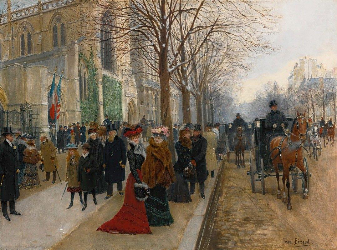 Jean Béraud - Après L'office À L'église De La Sainte Trinité, Noël 1890