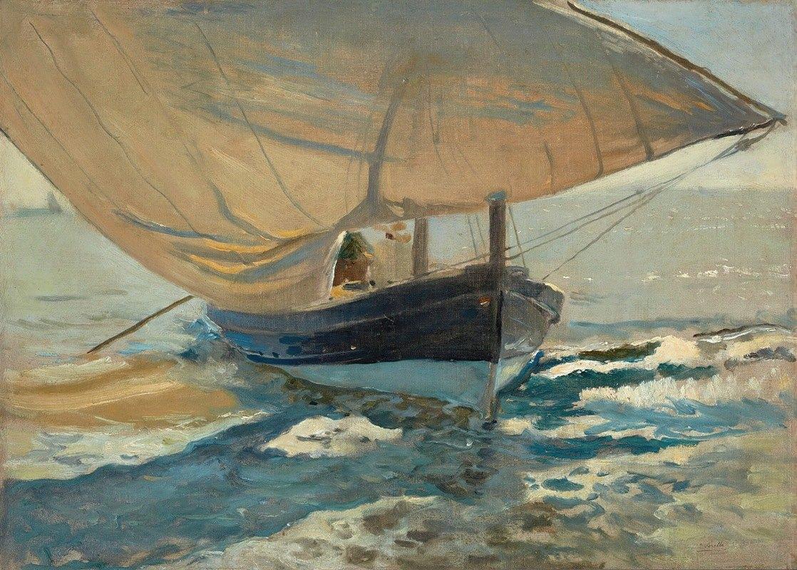 Joaquín Sorolla - Barcas En La Playa (FishingBoats On The Beach,Valencia)
