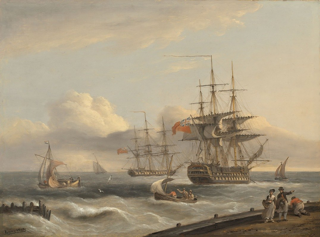 Thomas Luny - A British '74' unfurling its sails as it prepares to leave the anchorage with a frigate and various coastal craft beyond