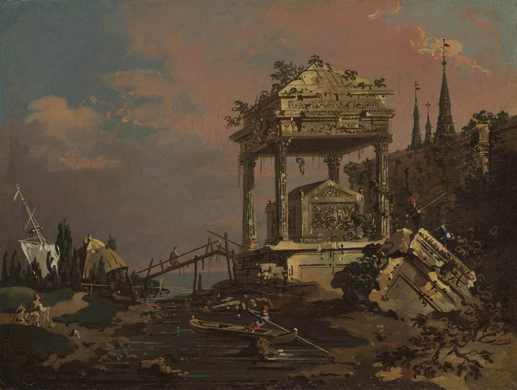Canaletto - Imaginary View with a Tomb by the Lagoon