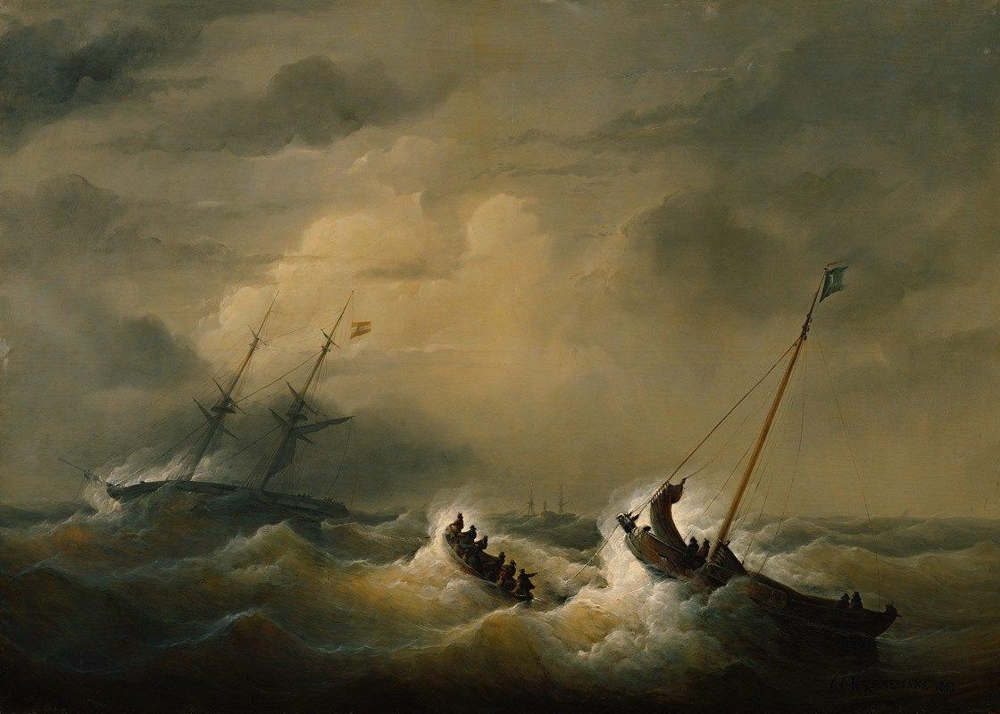 Christian Cornelis Kannemans - Die Rettung der Besatzung der österreichischen Brigg 'Pegno D'Amicizia' am 25. Oktober 1852